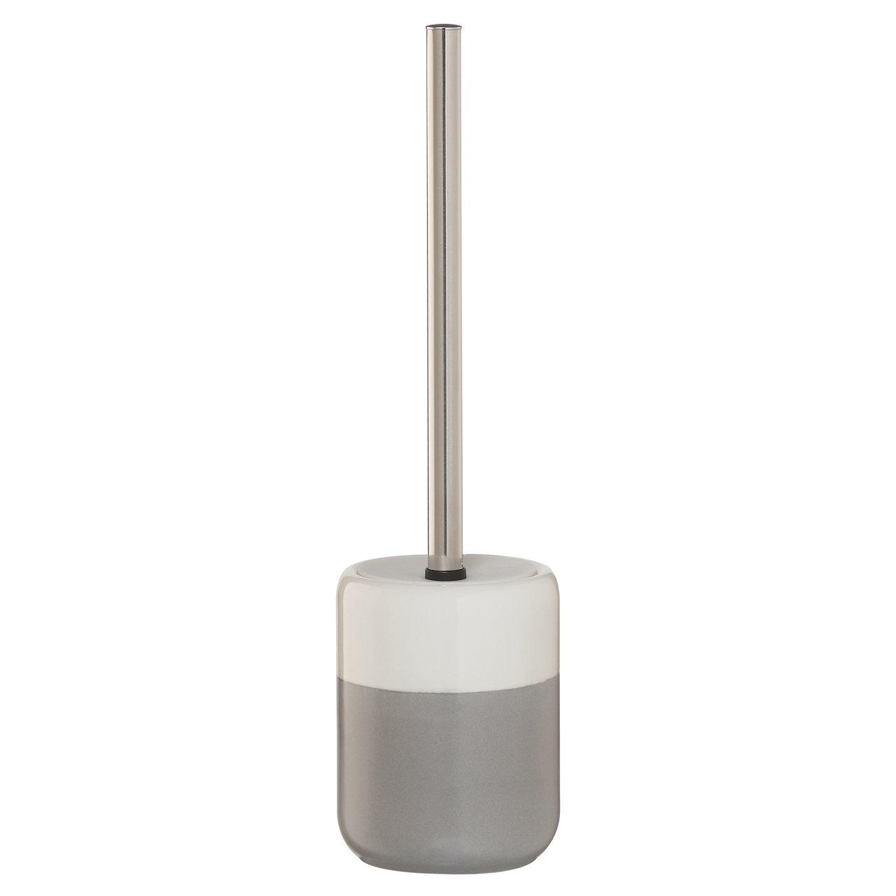 Sealskin Toilet Brush And Holder Sphere Gray And White Porcelain