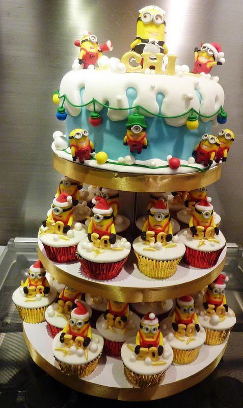 minon cupcake tower