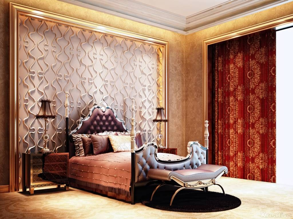 Luxury Bedroom Design Victorian Style With Red Color Curtain With Wallpaper Wall Interior Plus Gold Color Themes Bedroom Cool Wallpaper For Home Interior