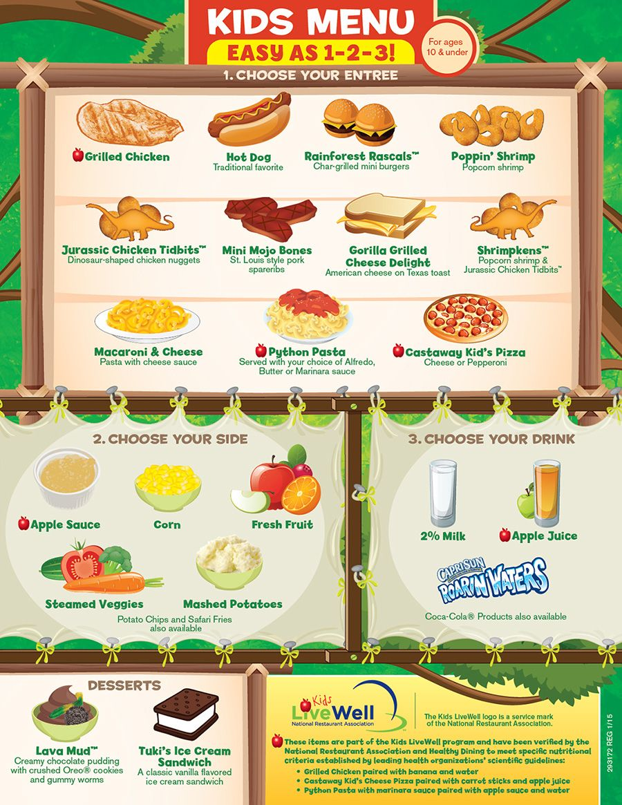 Exceptional Sample Kids Menu Template Menu Templates For Kids