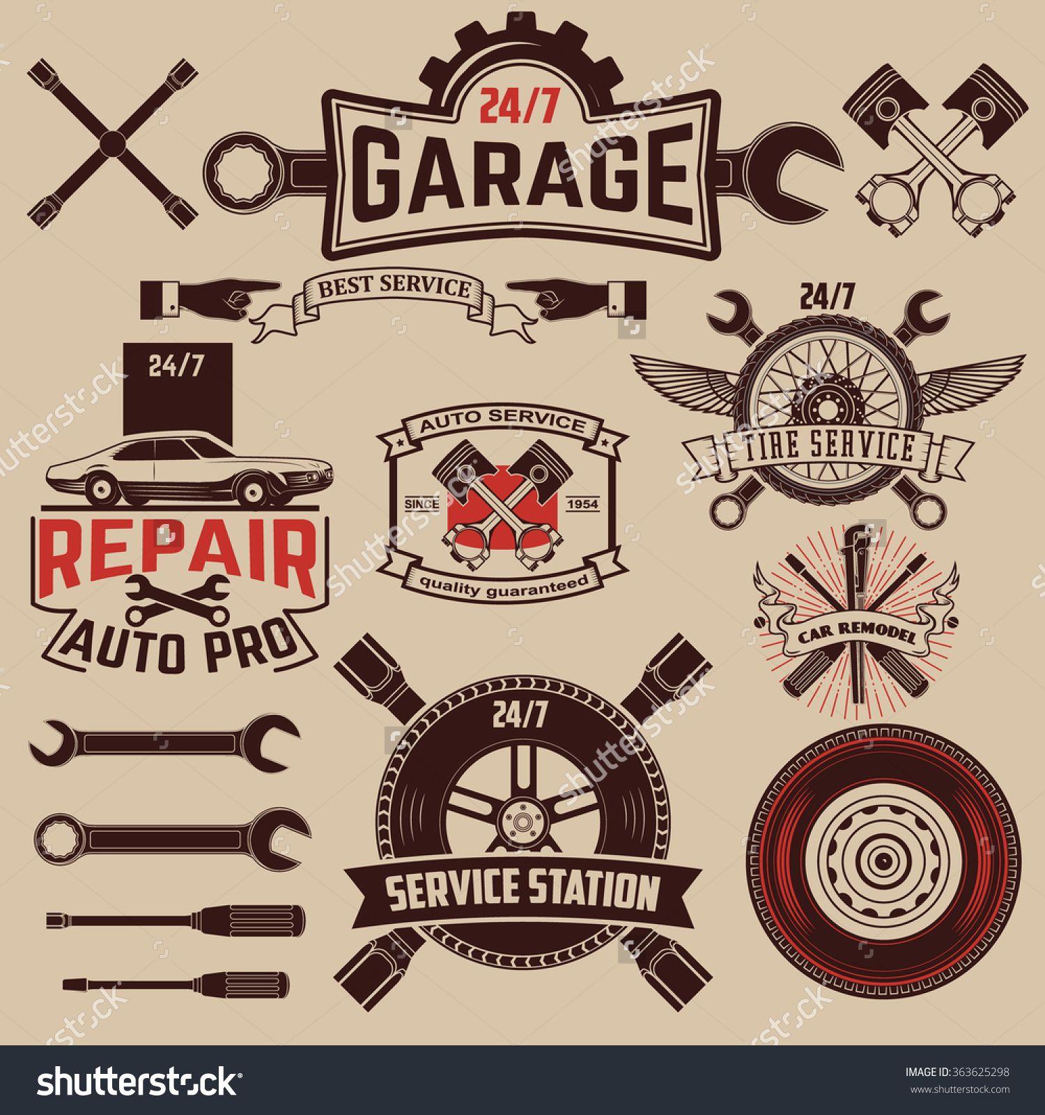 Stock-vector-set-of-car-service-icons-auto-parts-retro