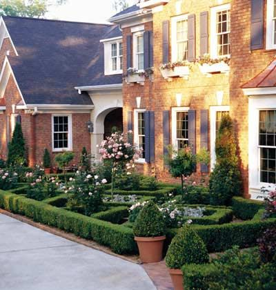 Brick Colonial With Beautiful Garden Article About Garden Styles Small Garden Design Garden Design Front Gardens