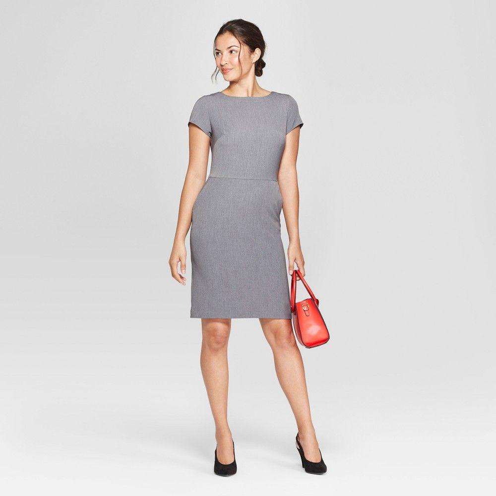 6dc1736fcf3 Women s Short Sleeve Bi-Stretch Twill Dress - A New Day Heather Gray ...