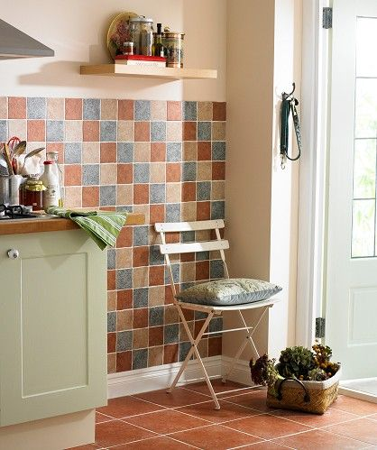 Terracotta style ceramic floor pale sage green cabinets for Terracotta kitchen ideas