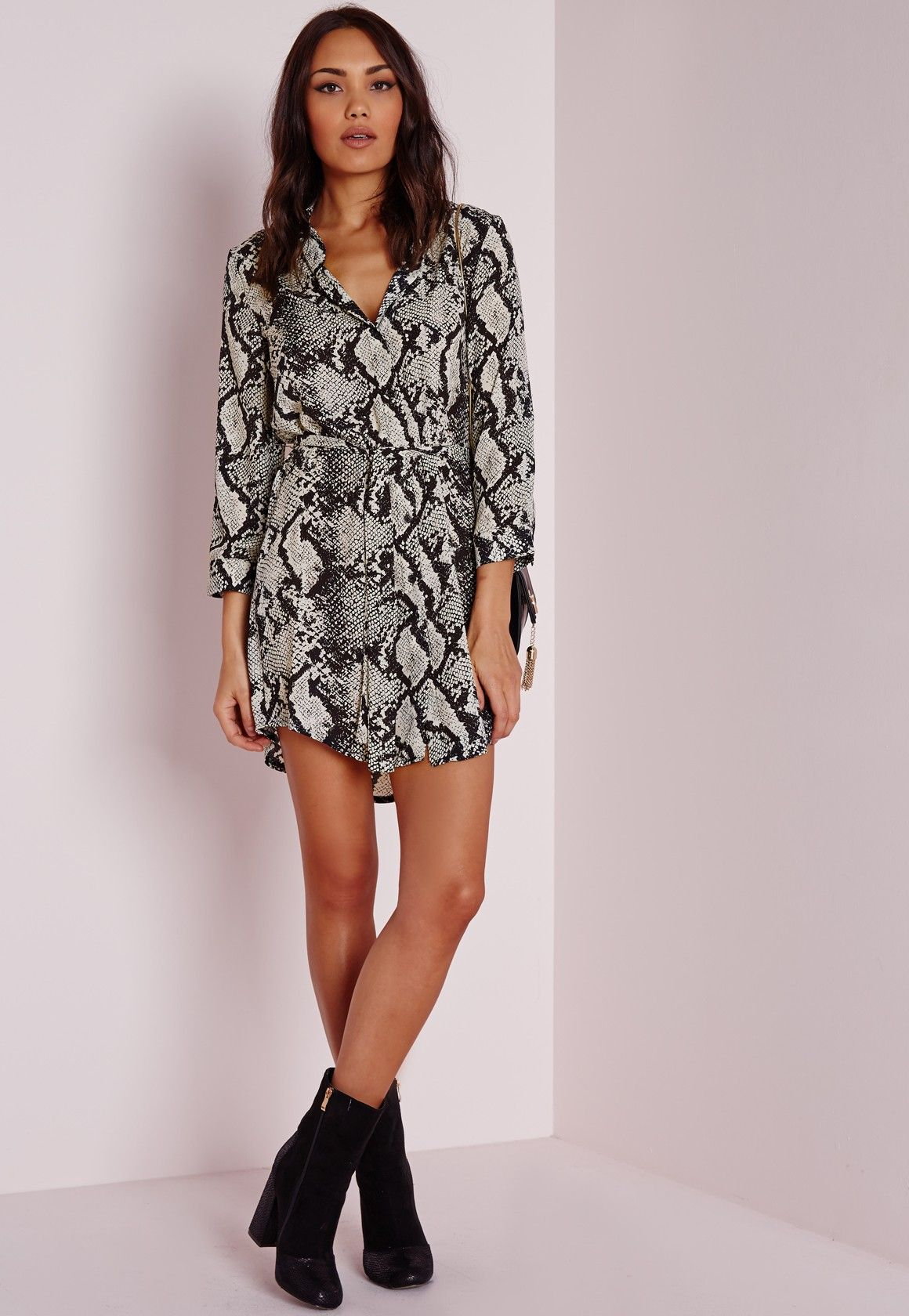 124531f69cd8 Missguided - Long Sleeve Snake Print Shirt Dress Black/Cream ...