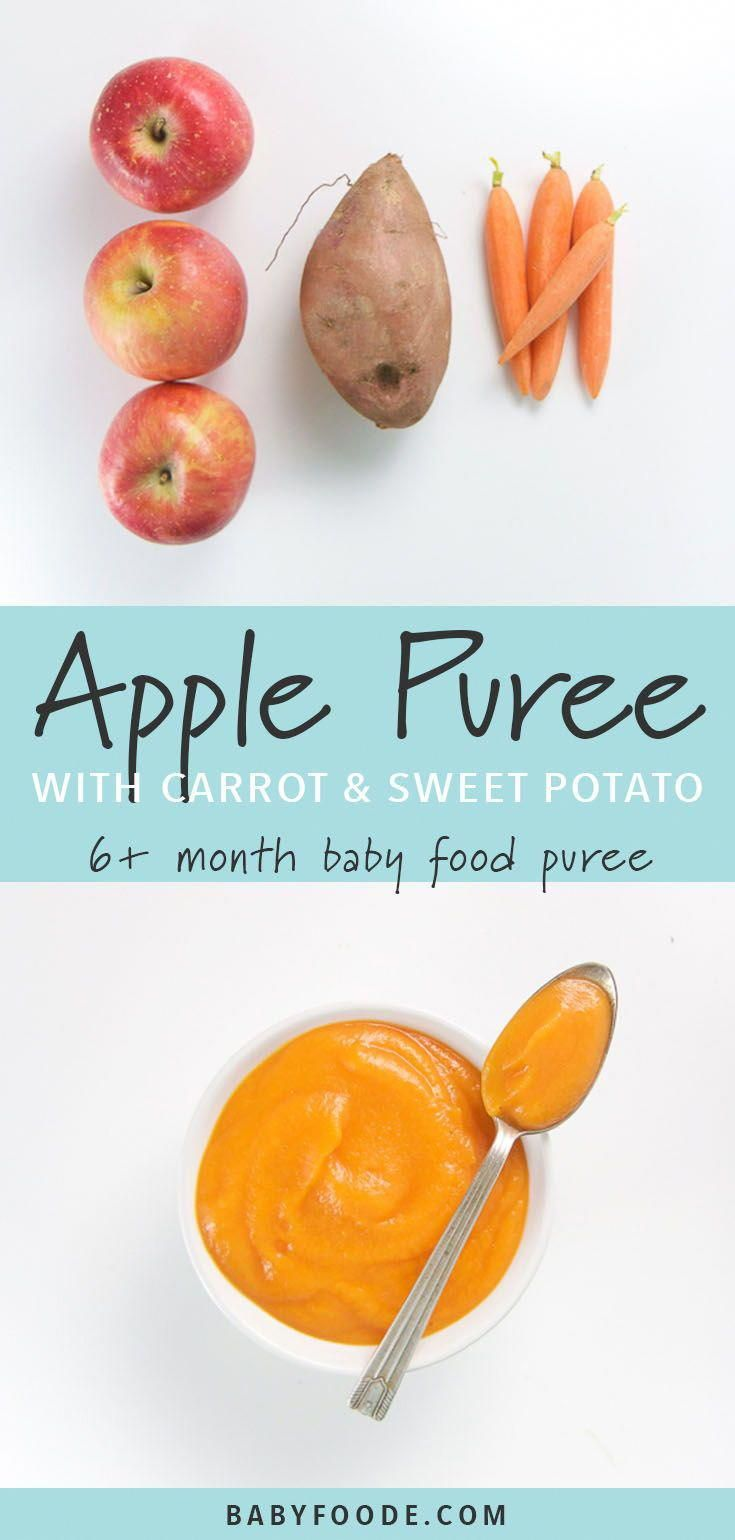 This apple, carrot, and sweet potato baby food puree is an easy healthy recipe that's perfect for babies 6 months and up. This fast homemade puree takes just 10 minutes and is loaded with vitamins and antioxidants for baby! #babyfoodrecipes #baby #grahambread #homemadebabyfood