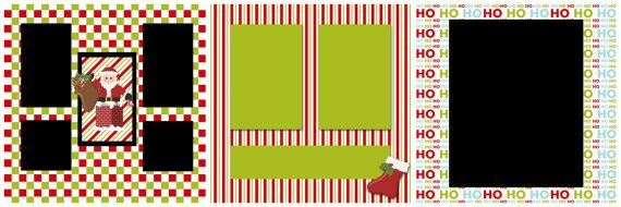 Set of 3 Christmas Digital Premade Scrapbook Pages (12x12 scrapbook page layout, quick pages)