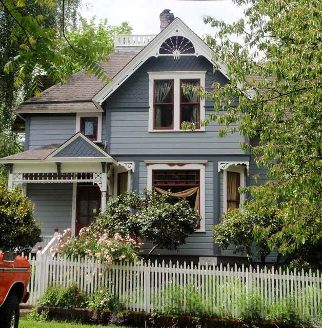 Blue Queen Anne Victorian House Victorian Homes Victorian Homes