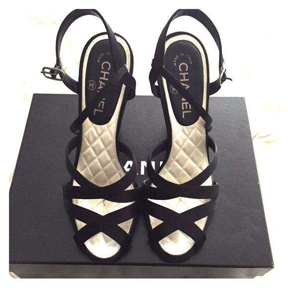 CHANEL satin sandals These CHANEL satin sandals were worn once and never again after that! They read size 38.5 but they fit a size 37.5. Good condition with box and dust bags. We're bought at the CHANEL boutique on Rodeo Drive, Beverly Hills CHANEL Shoes Sandals