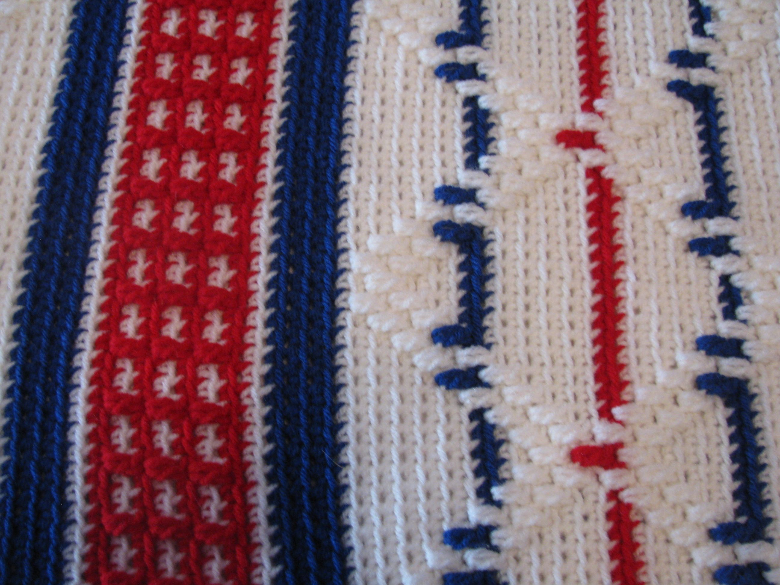 Detail picture of Patriotic American Diamonds Afghan. Hand Crocheted ...