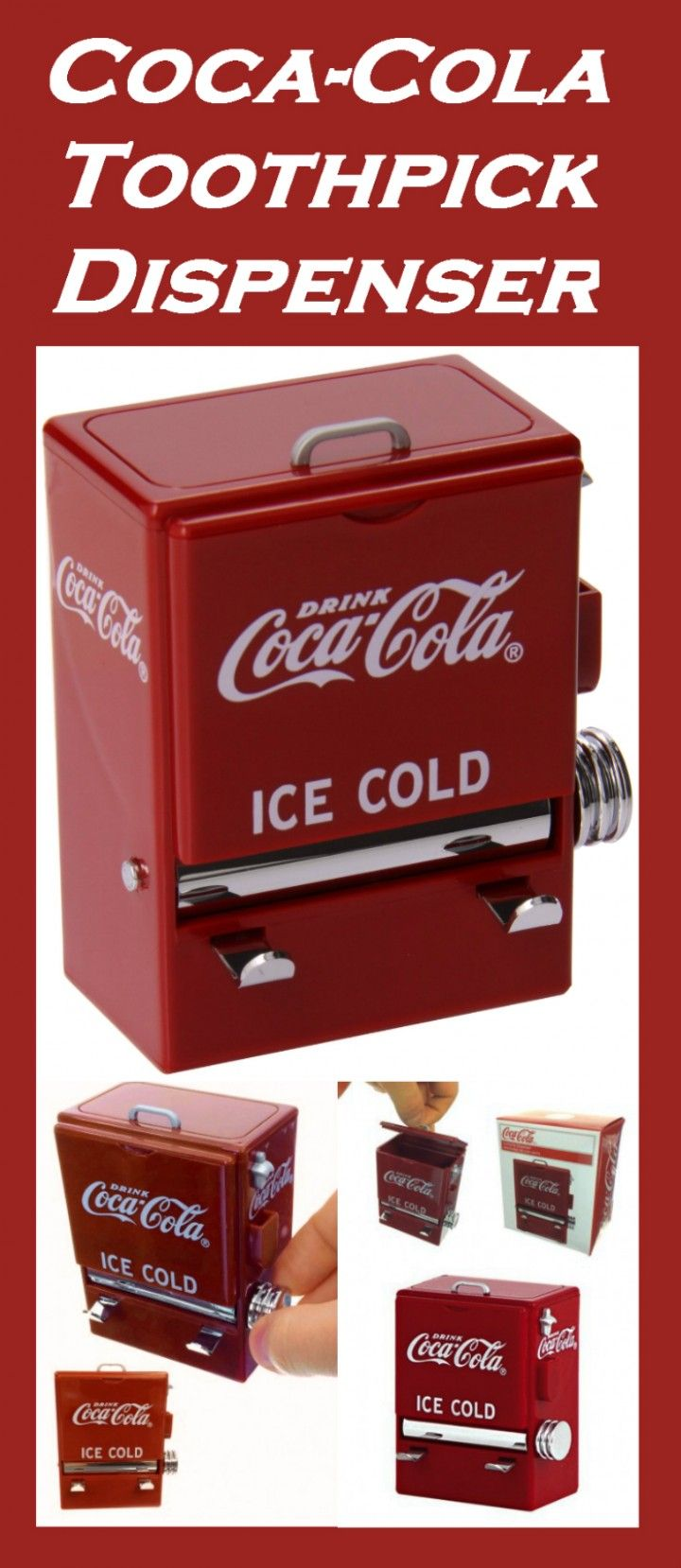 Coca-Cola Toothpick Dispenser holds 200 toothpicks!  #coca_cola #cola #mini  #cute #retro #vintage #old_fashioned #miniature  #red #logo #color #red_accessories #gadgets #Cocacola #Toothpick #Dispenser  #cola #soda #toothpicks #organizer #home #home_decor #kitchen #50s_style #50s #cute #gifts #retro #gift #nostalgia #rockabilly #gift_for_him #kitchen_gifts #cute_accessories #cute_gadgets #retro_accessories #sweet #gift_for_her #colors #red #kitchen_gadgets #colorful #gadgets #accessories