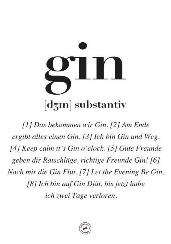 Gin Dʒɪn Worterbuch Poster In A3 A2 Gin Zitate Witzige Spruche Spruche