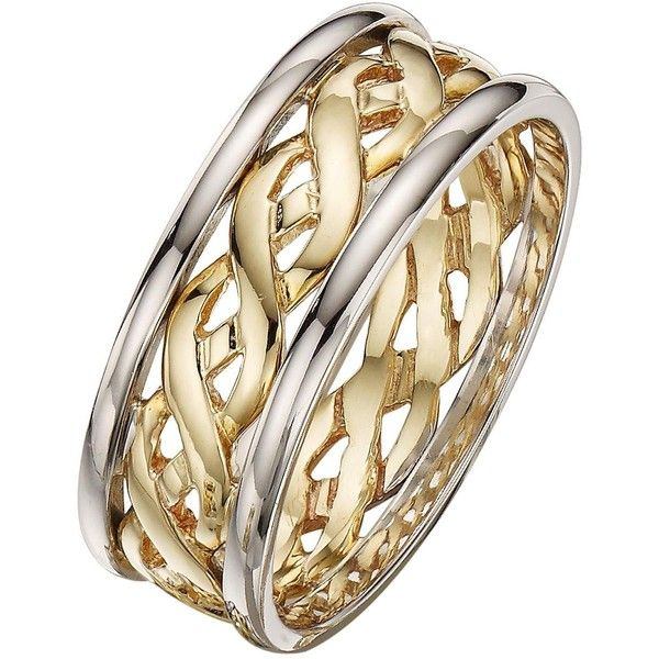 Love Gold 9 Carat 2 Colour Gold Celtic Wedding Band 6Mm (€185) ❤ liked on Polyvore featuring jewelry, rings, gold band wedding rings, heart wedding rings, yellow gold rings, heart ring and yellow gold heart ring