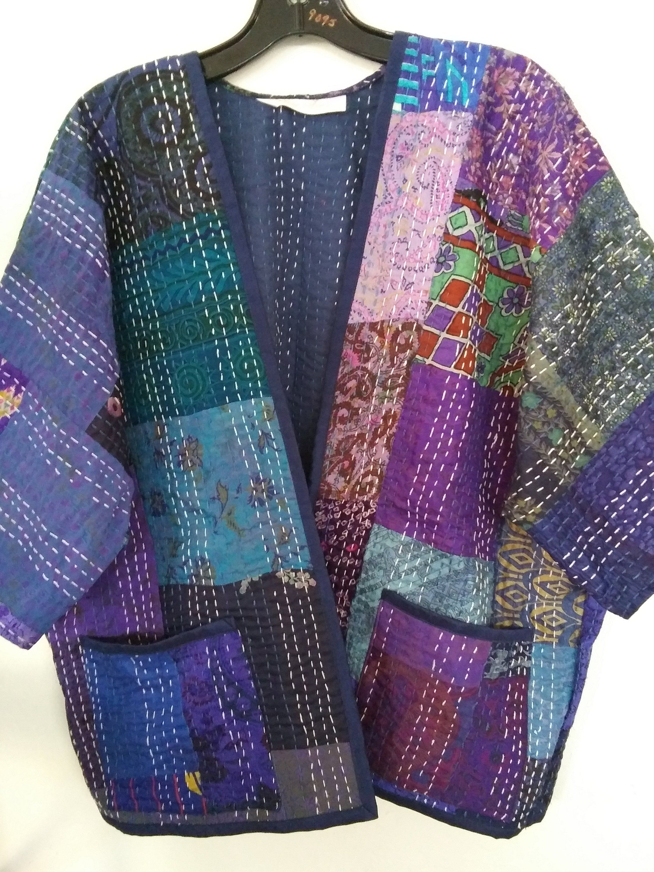 Silk Patchworked Lined Jacket Blues Purples Handmade From Vintage Quilted Kantha Fabric By Designsbysylvi In 2020 Quilted Clothes Quilted Jacket Pattern Kantha Fabric