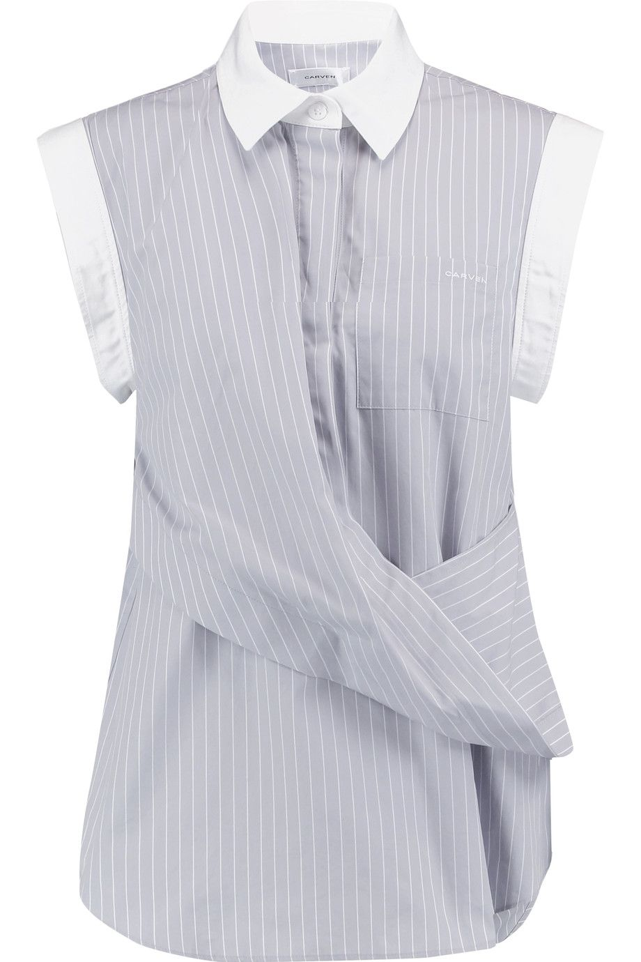 Shop on-sale CARVEN Draped pinstriped cotton-poplin shirt. Browse other  discount designer Sleeveless & more on The Most Fashionable Fashion Outlet,  ...