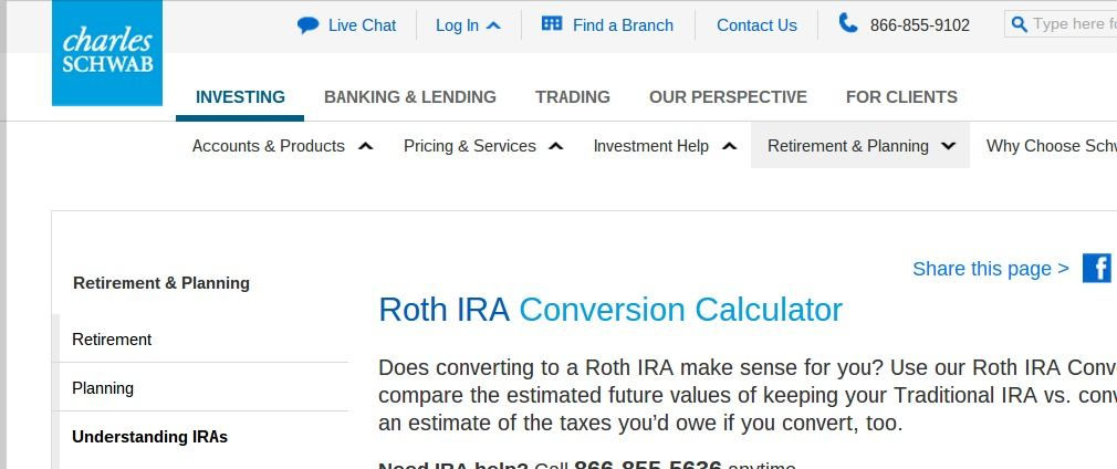 Roth Ira Conversion Calculator  Converting An Ira  Schwab