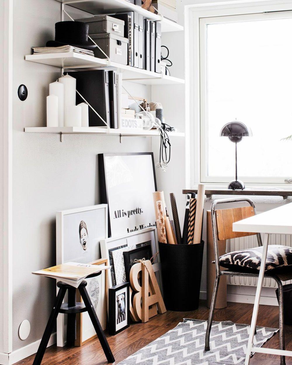 Bureau Noir Et Blanc un bureau blanc, noir et bois | scandinavian home, swedish