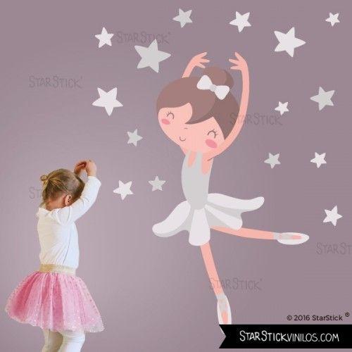 Bailarina gris vinilos infantiles para decorar - Decorar habitacion infantil nina ...