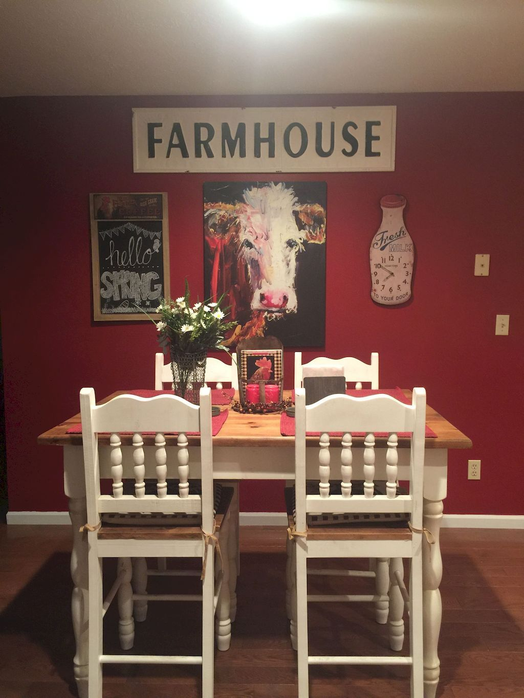 Enhance Dinning Room With Farmhouse Table Home To Z Cow Kitchen Decor Cow Decor Country Style Bedroom
