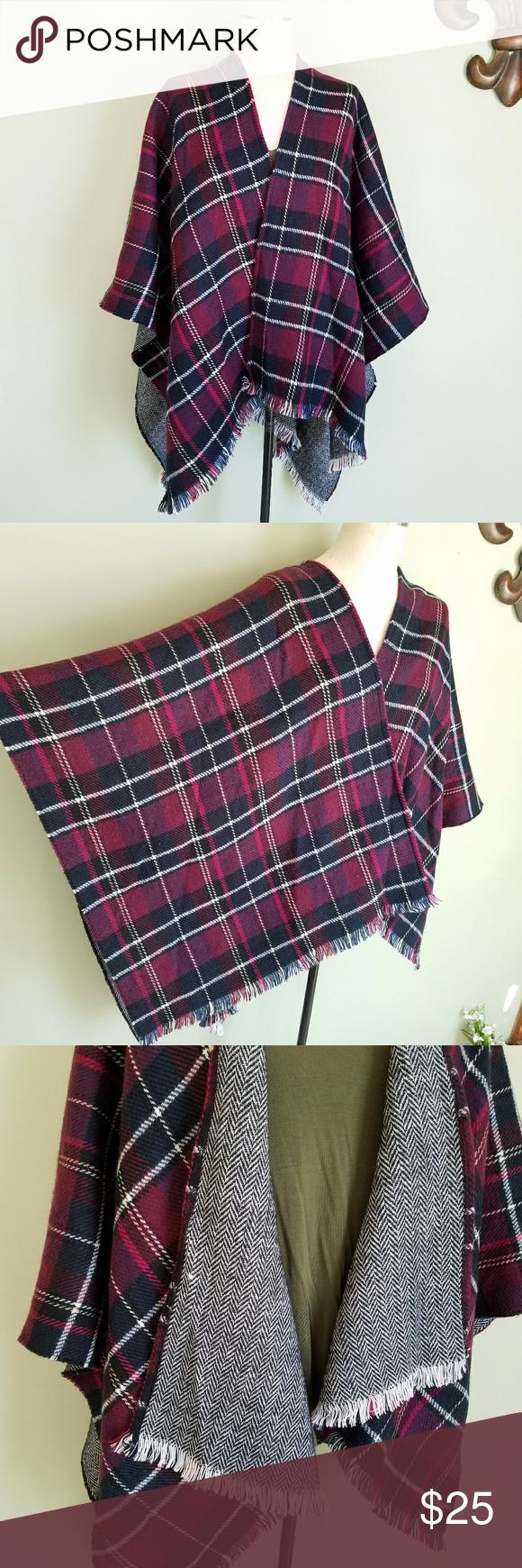 Flannel cardigan womens  Saks Fifth Avenue Flannel Plaid Poncho Cape
