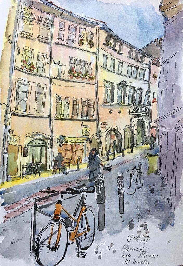 Rue Chenoise A Grenoble Urban Sketching Art Suprematism