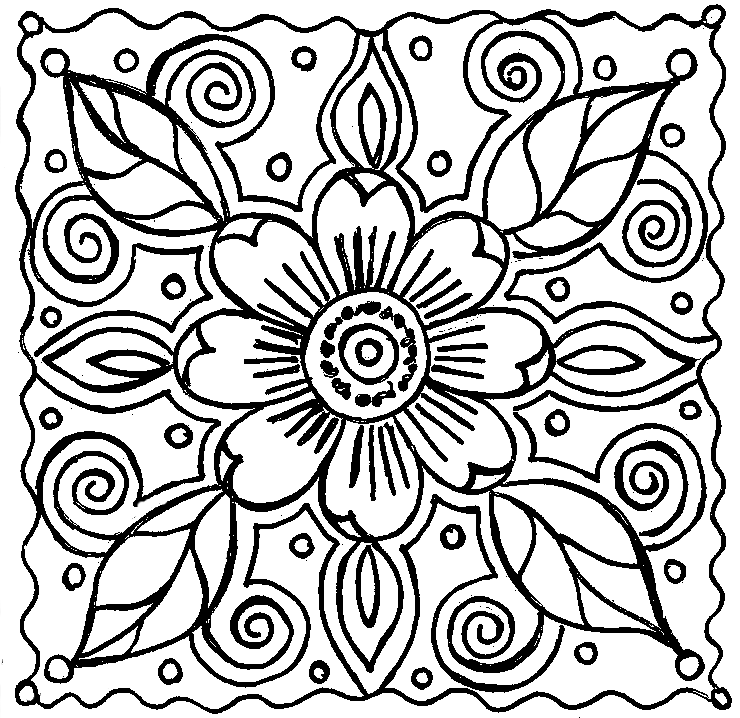 Abstract Flower Doodle For You designed by Kat Ahrens | Blackline ...