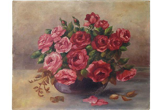 Pink roses! Love them! Bowl of Pink Roses on OneKingsLane.com