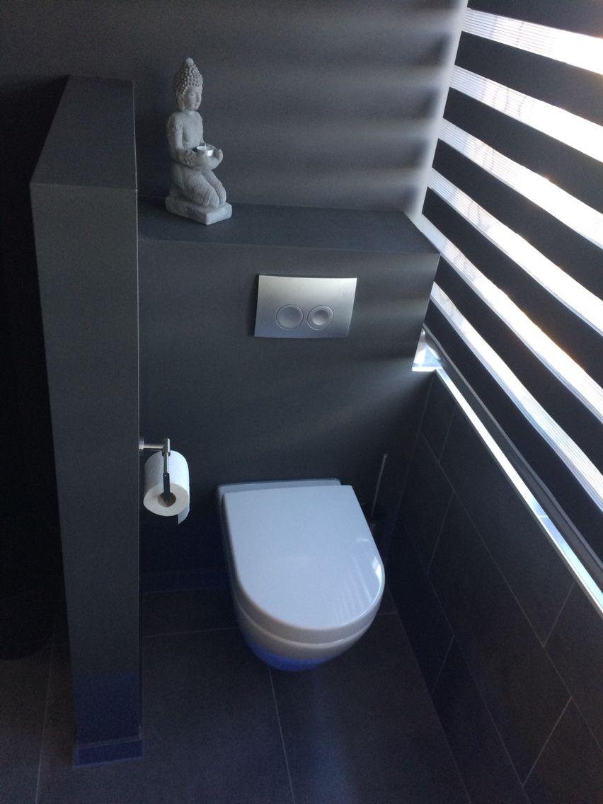 Toilet in badkamer met scheidingswandje Muren gesaust met mat ...