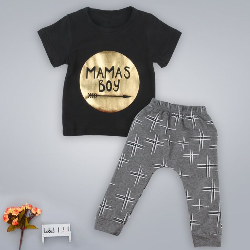 b8f31d66c 2pcs Recién Nacido Niño Infantil Niños Bebé Niño Ropa Camiseta Tops + Pantalones  Conjuntos Set