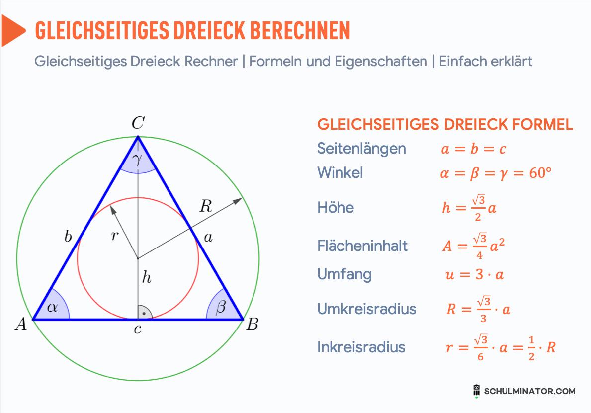 Gleichseitiges Dreieck Formel: Fläche, Umfang, Höhe ...