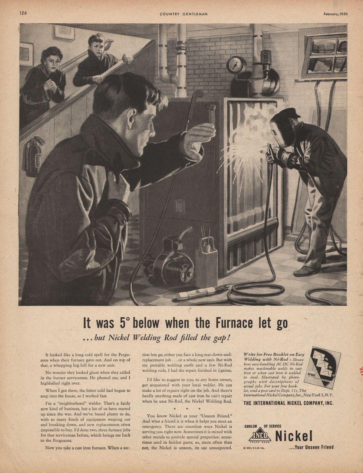 Vintage bathroom ads - Old 1950 Int Nickel Company Print Ad Welding The Furnace Ebay