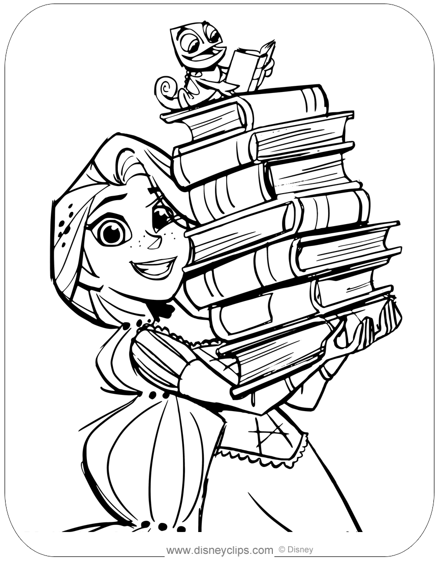 Coloring Page Of Rapunzel And Pascal With All Their Books Disney Rapunzel Pascal Tang Tangled Coloring Pages Cute Coloring Pages Rapunzel Coloring Pages