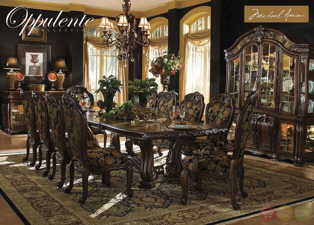 Oppulente Luxury 13 Piece Formal Dining Room Set China Cabinet Michael Amini AicoMichaelAmini Traditional