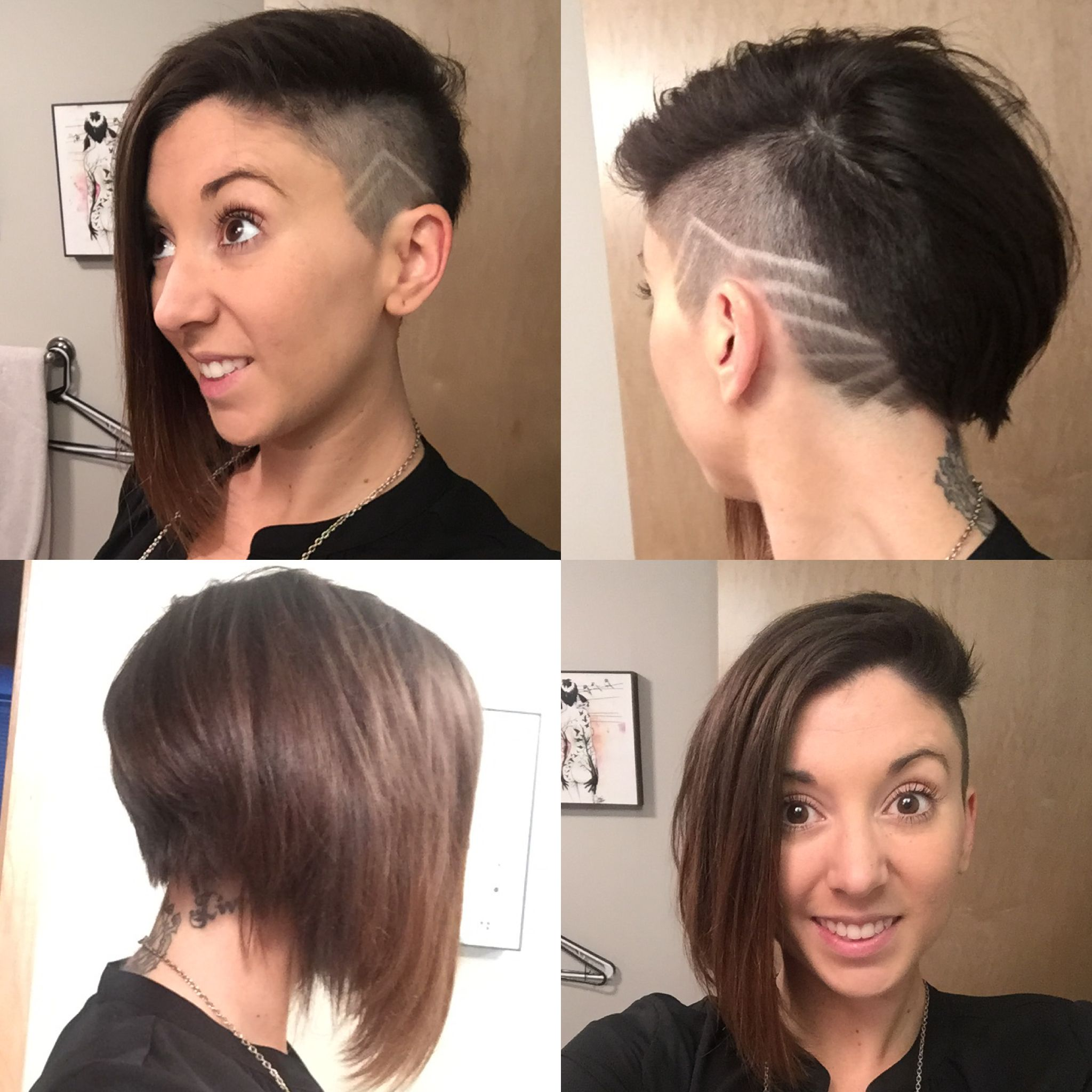 Hairstyle - Shaved side with design and angled bob | Hair styles, Cute hairstyles, Hair makeup
