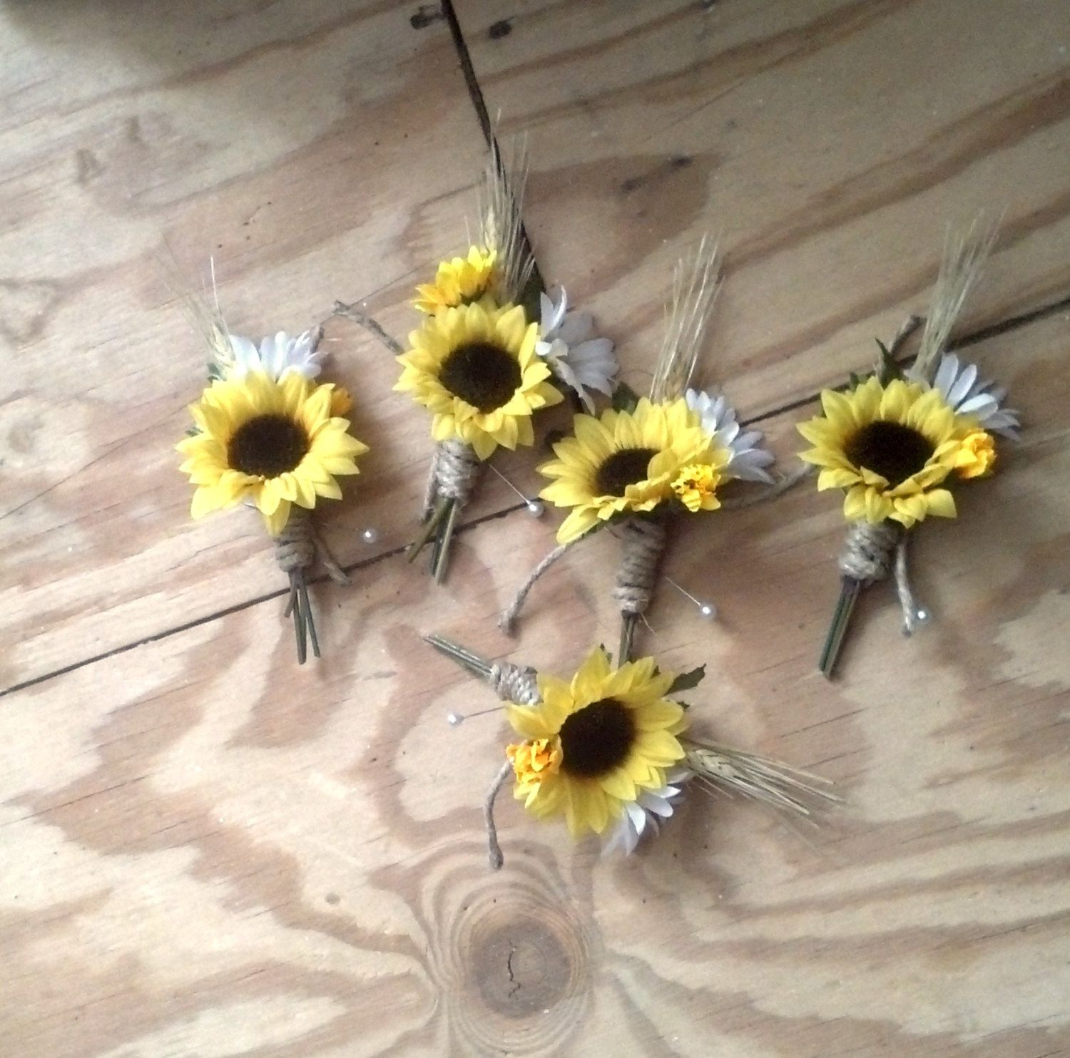 Country Wedding Ideas Flowers: Set Of 4 Boutonnieres Sunflower Woodland Barn Wedding