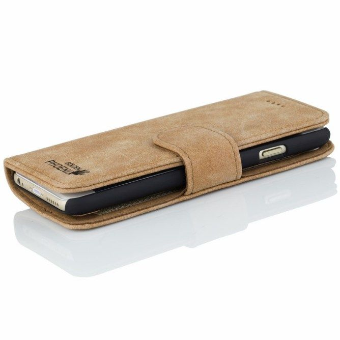 Golden Phoenix iPhone 6 Plus Handyhülle Royal Wallet-Case Wildleder hellbraun