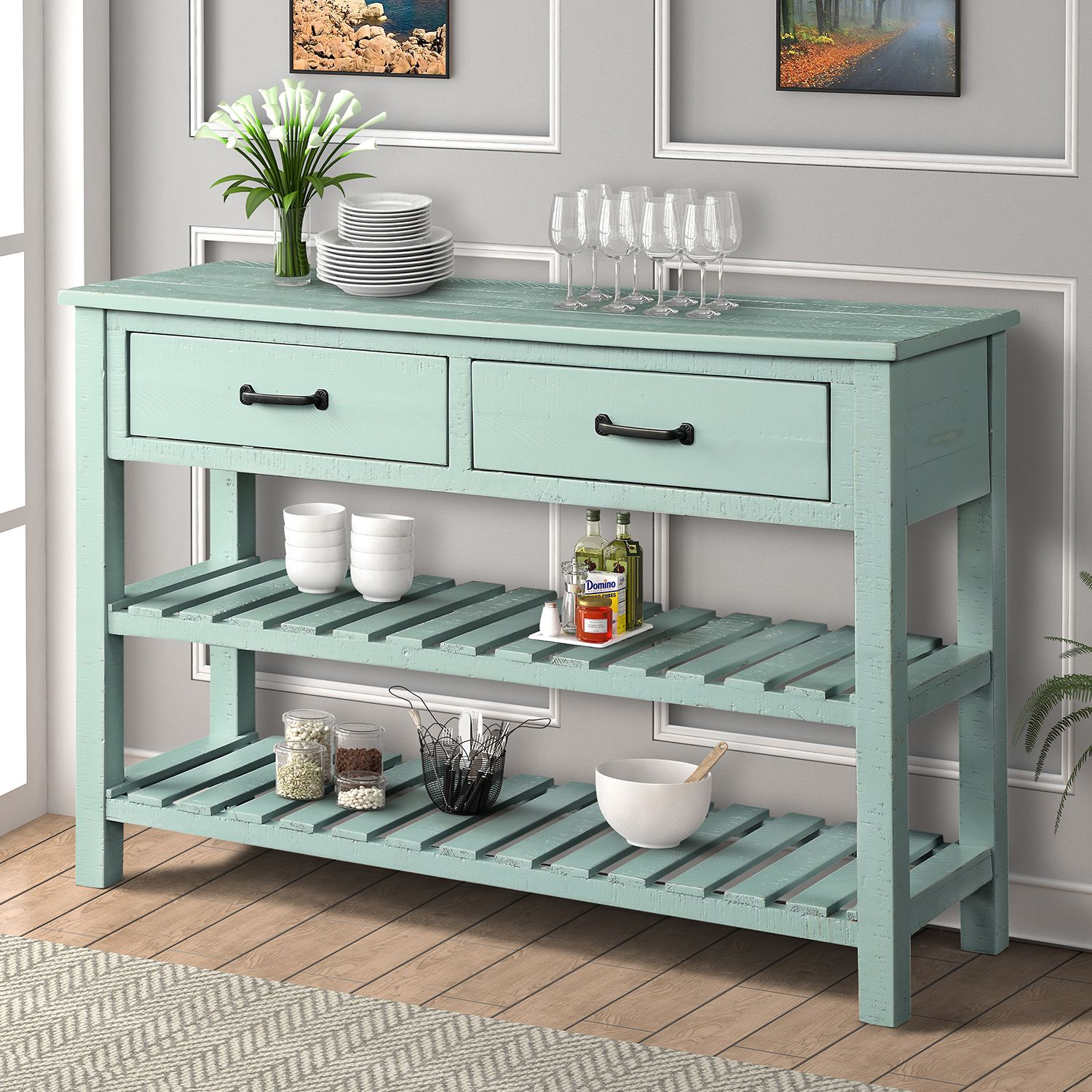 Free 2 Day Shipping Buy Segmart Console Table With Drawers And 2 Cabinets And Bottom Shelf 45 X In 2020 Accent Storage Cabinet Console Table Sofa Table With Drawers