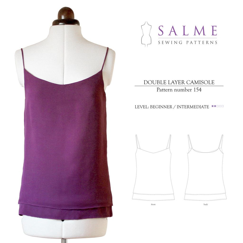 Double Layer Camisole Beginner Sewing Pattern | Salme Sewing ...
