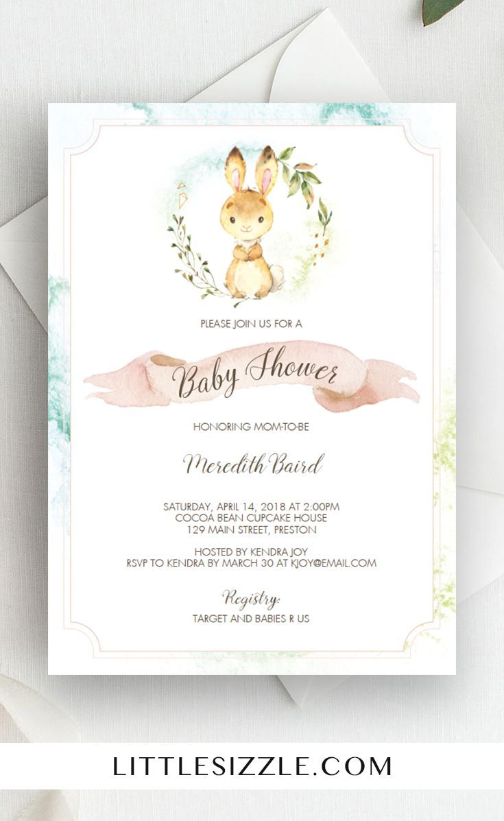 Watercolor bunny baby shower invitation template babyshower watercolor bunny baby shower invitation template babyshower shower invitations and bunny filmwisefo