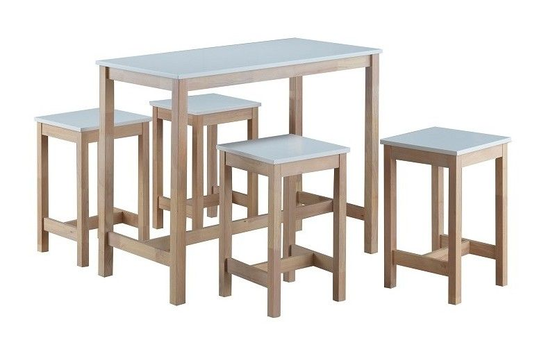 Ensemble Table Haute Bar 4 Tabourets Molde Set Moderne Et