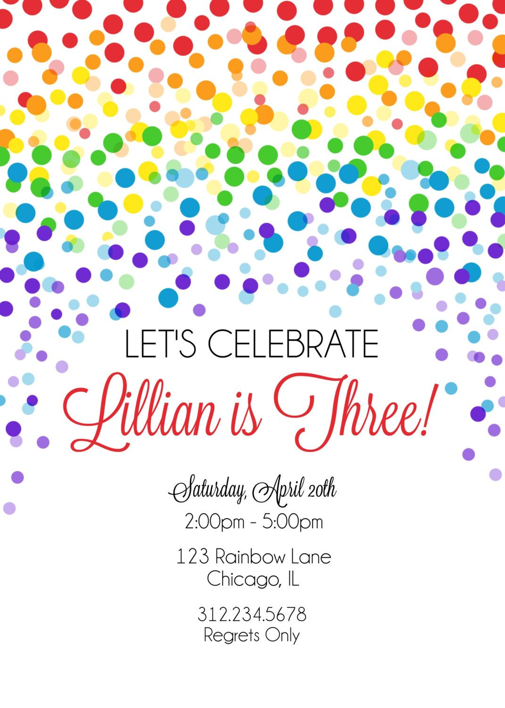 Rainbow Confetti Birthday Invitation, Printable Rainbow Invitation ...