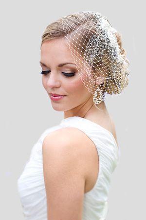 Beautiful Wedding Hair Makeup Bridal Lace Headpiece With Birdcage Veil