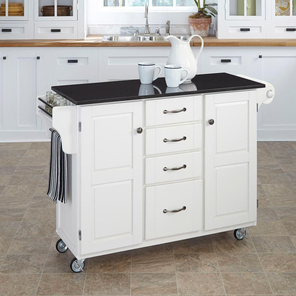 Create A Cart White Kitchen With Black Granite Top