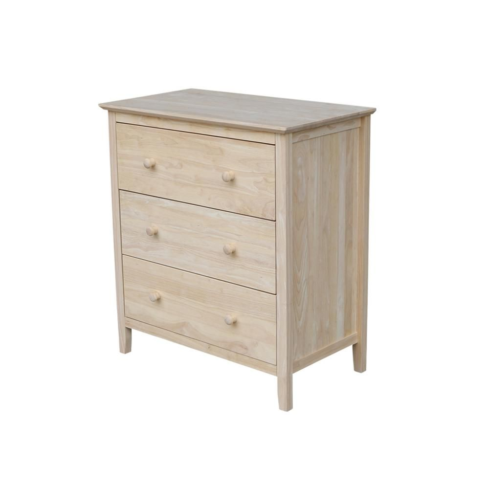 International Concepts Brooklyn 3 Drawer Unfinished Wood Chest