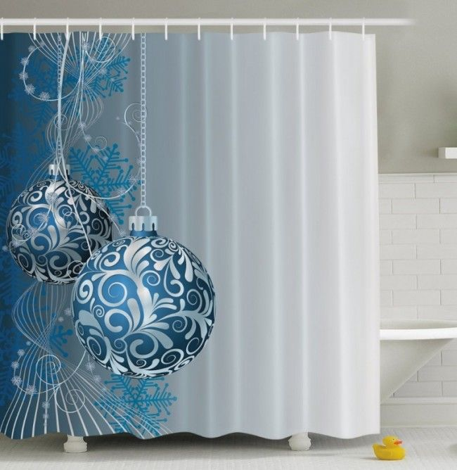 Holiday Christmas Ornaments Fabric Shower Curtain Christmas