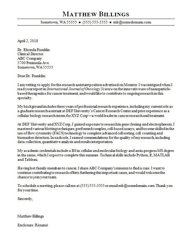 Cover Letter Template Science 2 Cover Letter Template