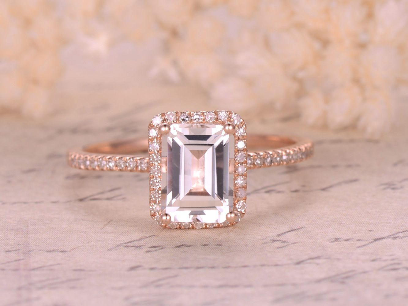 6x8mm Emerald Cut WHITE Topaz Engagement Ring,14K Rose Gold Diamonds ...