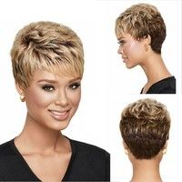Women's Fashion Short Brown & Blonde Synthetic Wig