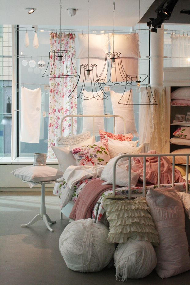 Shabby Chic Bedroom...love the vintage wire lamp shades ...