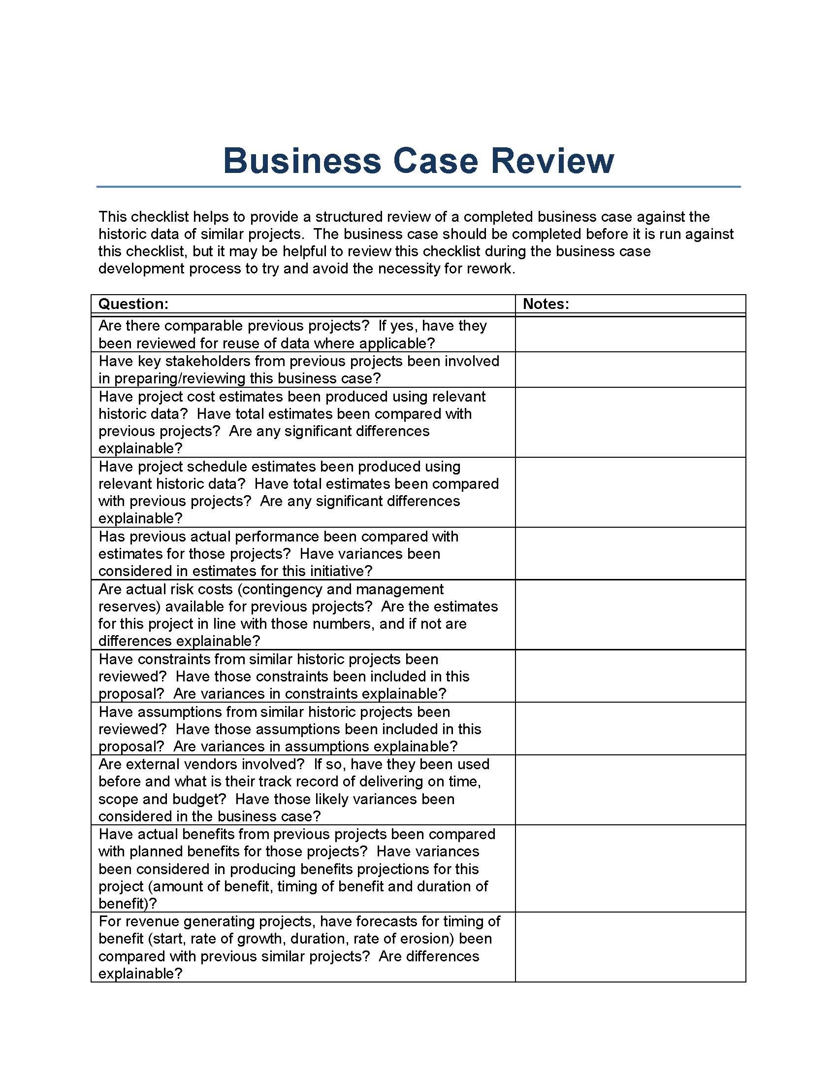 Business Case Review Template From A Perspective Of Historically